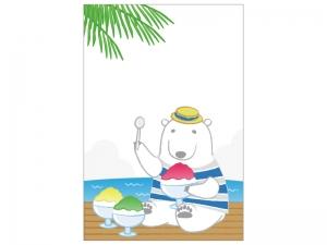 文字無し・シロクマとかき氷の暑中見舞いテンプレートイラスト