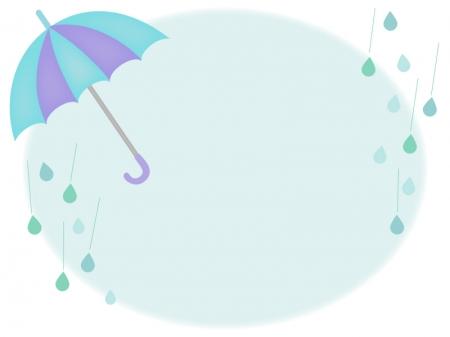青い傘の枠・フレーム素材