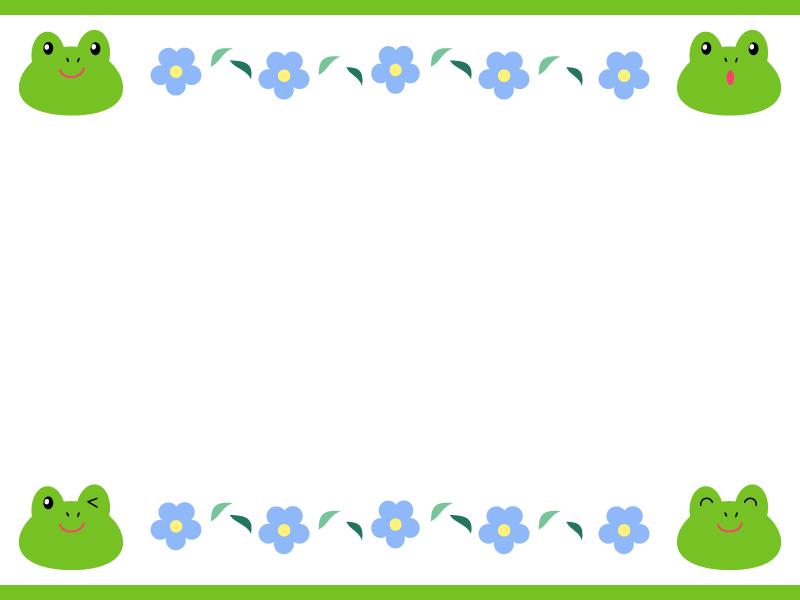 いろいろな表情をしたカエルと青い花の枠・フレーム素材