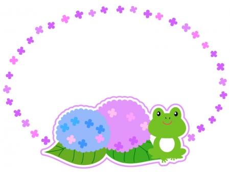 カエルと紫陽花の枠・フレーム素材