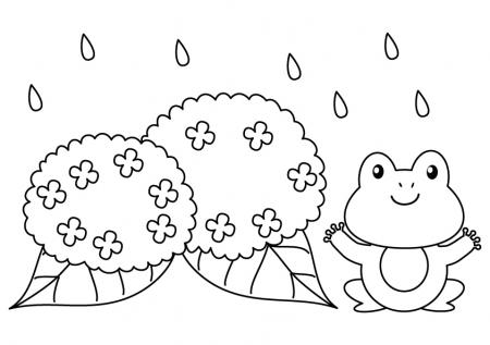 カエルと紫陽花のぬりえ(線画)イラスト素材