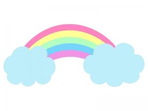 虹と雲のイラスト