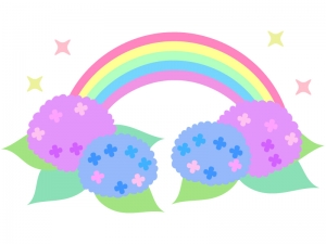 虹と紫陽花のイラスト