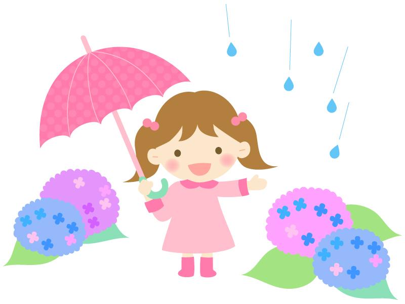 ピンクの傘をさす女の子と紫陽花のイラスト