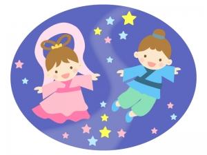 七夕・かわいい織姫さまと彦星さまのイラスト