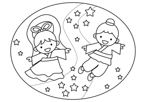 七夕・織姫と彦星のぬりえ(線画)イラスト素材