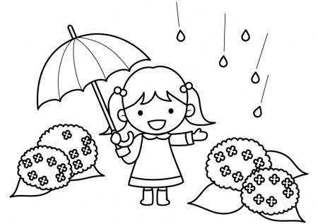 ピンクの傘をさす女の子と紫陽花のぬりえ(線画)イラスト素材