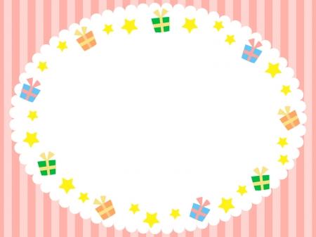 ピンクのボーダーのプレゼントの枠・フレーム素材