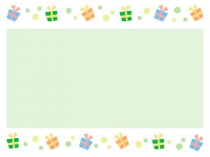 グリーンの水玉模様のプレゼントの枠フレーム素材 イラスト無料