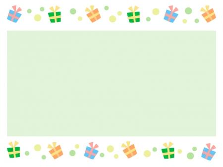 グリーンの水玉模様のプレゼントの枠・フレーム素材