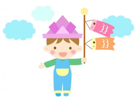 子供の日・鯉のぼりと紙兜と被った男の子のイラスト