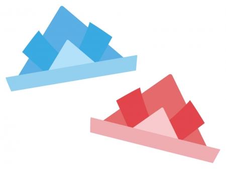 赤と青の紙兜のイラスト