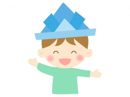 子供の日・青い紙兜をかぶった男の子のイラスト