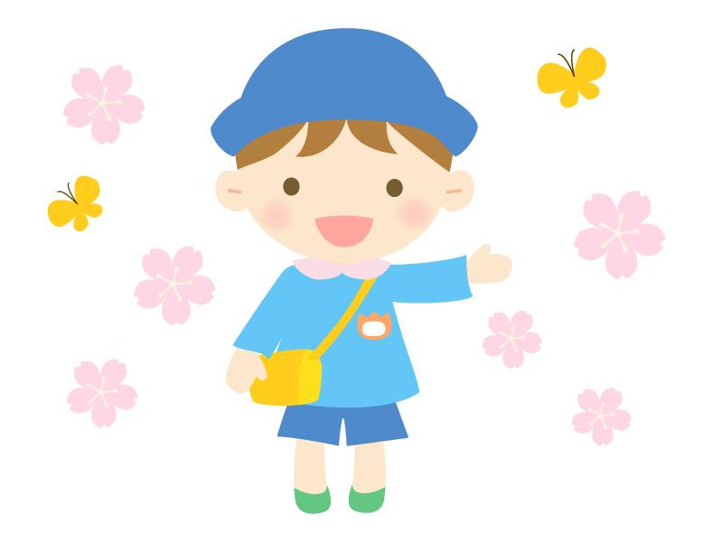 桜と園児の男の子のイラスト