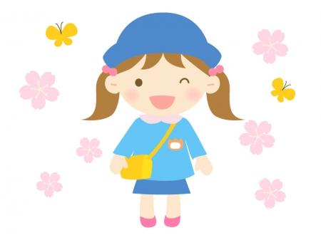 桜と園児の女の子のイラスト