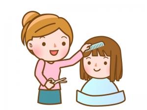 子供の髪の毛をカットしているイラスト