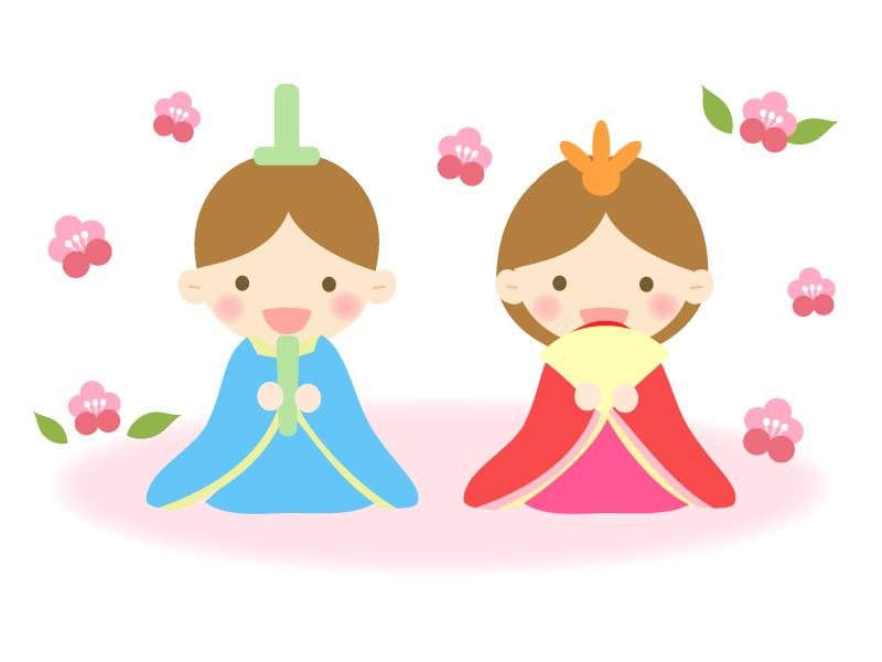 梅の花とお内裏様とお雛さまの雛祭りのイラスト