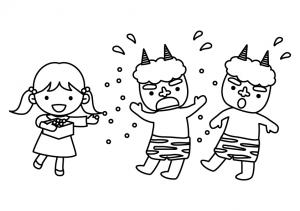 節分・豆まきをする女の子と鬼のぬりえ(線画)イラスト素材