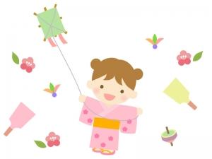 お正月遊びをする女の子のイラスト