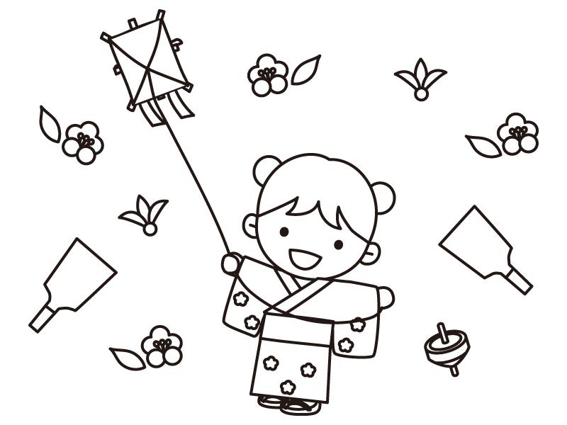 お正月遊びをする女の子のぬりえ(線画)イラスト素材
