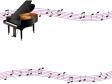 グランドピアノと音符のフレーム・枠素材