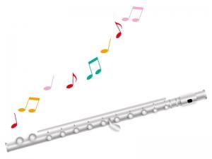 フルートと音符のイラスト