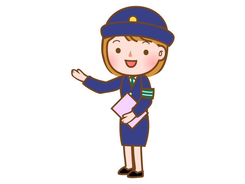 説明をする女性警察官のイラスト