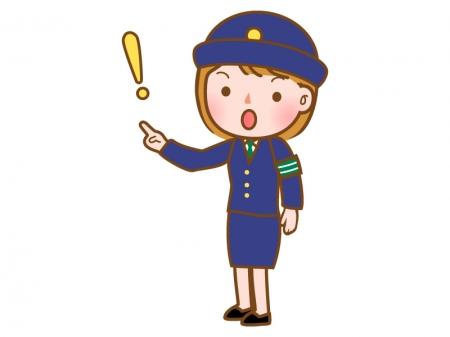 注意をする女性警察官のイラスト