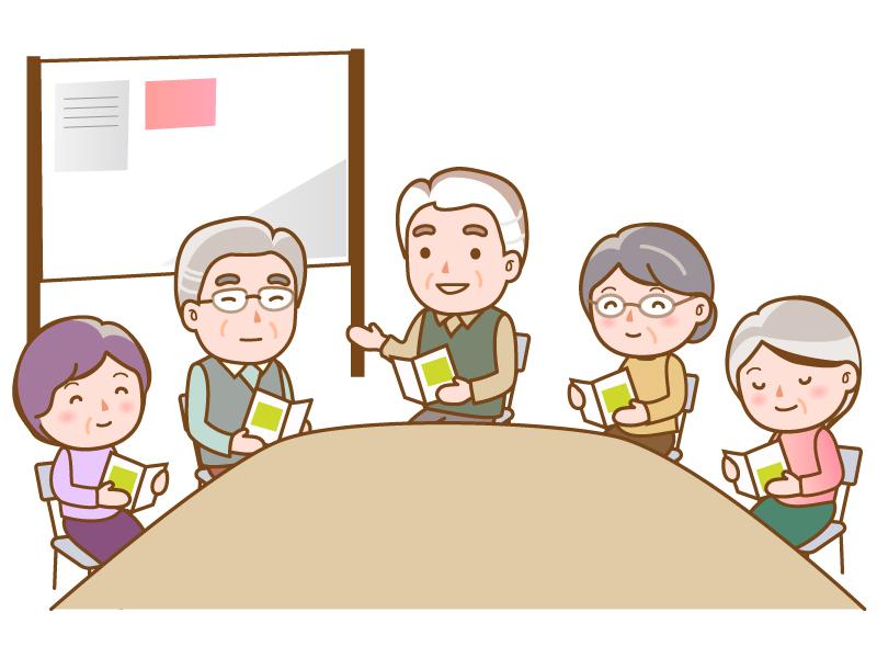 会議・話し合いをするシルバーのイラスト