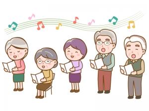 合唱をしている高齢者のイラスト