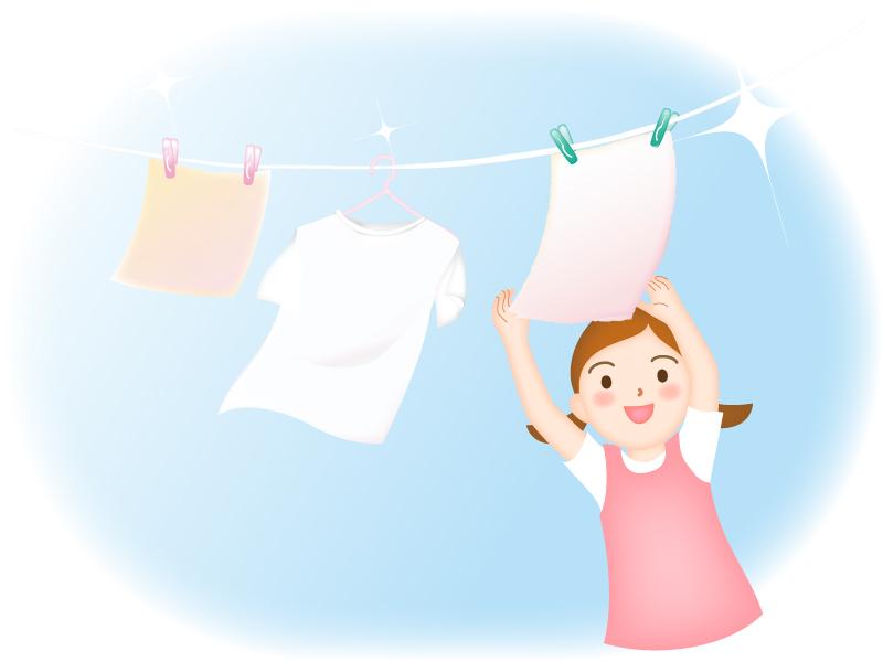 洗濯を手伝っている子供のイラスト