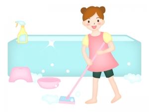 お風呂掃除を手伝っている子供のイラスト