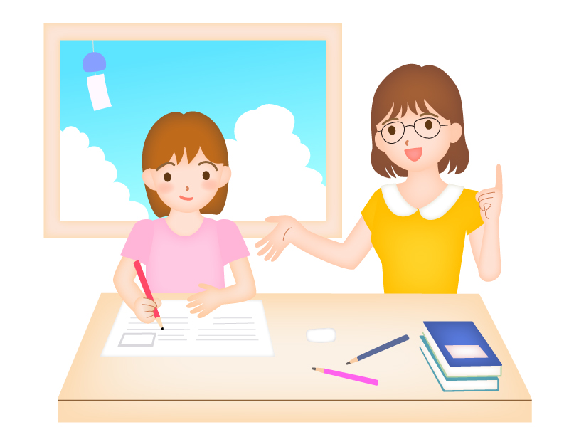 家庭教師と勉強のイラスト