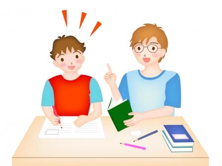 家庭教師と一緒に勉強しているイラスト
