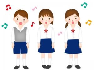 子供達が合唱をしているイラスト