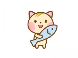 魚を持ったかわいいネコのイラスト