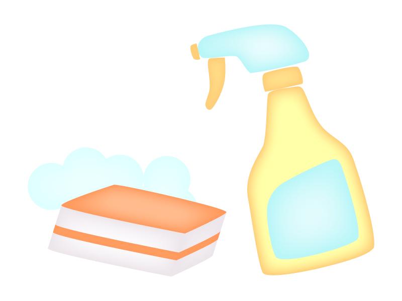スプレー洗剤とスポンジ・掃除のイラスト