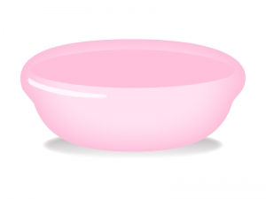 ピンクの洗面器のイラスト
