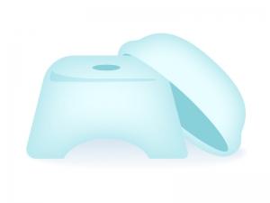 洗面器とお風呂の椅子のイラスト