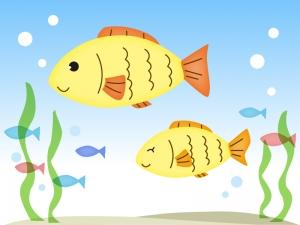海の中を泳ぐかわいい魚のイラスト