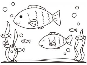 海の中を泳ぐかわいい魚のぬりえ(線画)イラスト素材