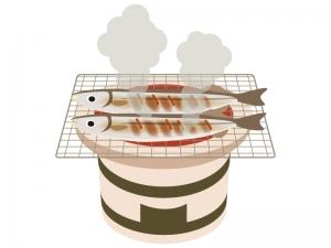 焼きサンマ(秋刀魚)と七輪のイラスト