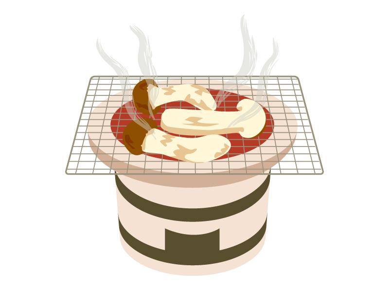 七輪と焼き松茸まつたけ・きのこのイラスト