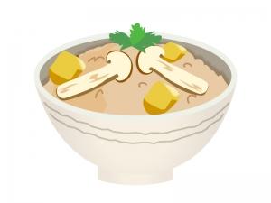 まつたけご飯のイラスト