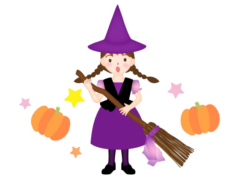 ハロウィン・魔女に仮装したイラスト