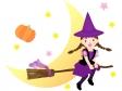ハロウィン・ホウキに跨った魔女のイラスト