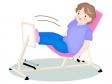 お年寄りがリハビリで足腰の運動をしているイラスト