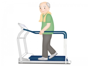 お年寄りが歩行運動をしているイラスト