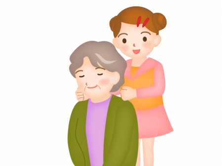 おばあちゃんに肩たたきする孫のイラスト