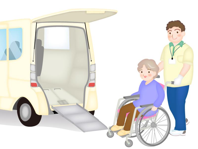 介護タクシーに乗るお年寄りのイラスト